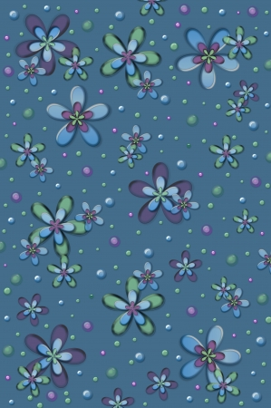 muted: Scrapbooking background of gel flowers in muted colors on a denim blue background.