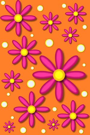 Scrapbooking background with large pink daisies and white polka dots.