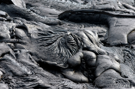 hardened: A swirled pool of lava has hardened in the Hawaii Volcanoes National Park on the Big Island of Hawaiil