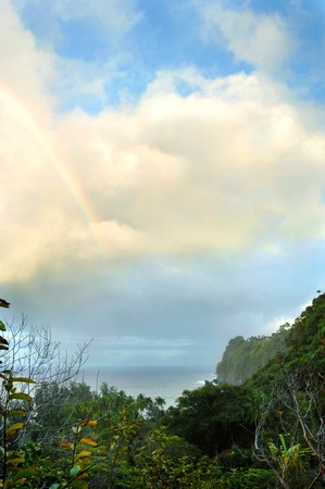 Scenic overlook of Laupahoehoe Point and surrounding cliffs is enhanced by a rainbow and remaining cloud cover after rain  photo