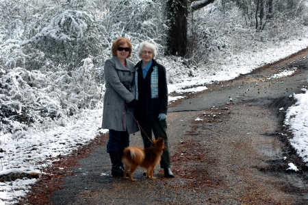 backroad: Mother and daughter and canine walk down a narrow backroad after a light snow fall   Ninety year old keeps up and gets her exercise