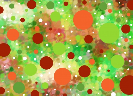 daubed: Background is smeared greens and oranges.  Big and small polka dots in green and oranges float across the surface.