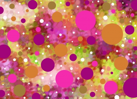 Background is smeared greens and aquas.  Big and small polka dots in pinks and purples float across the surface. Stock Photo