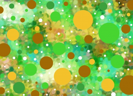 daubed: Background is smeared greens and aquas.  Big and small polka dots in greens and yellows float across the surface.