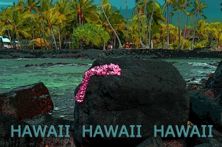 Pink Plumaria lei lays on a large rock on the beach surrounding Puuhonua o Honaunau National Historical Park on the Big Island of Hawaii.