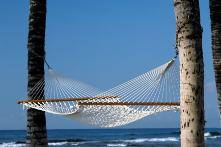 Empty hammock hangs from two palm trees and is surrounded by blue water and blue sky on the Big Island of Hawaii.  Anaehoomalu Bay on the Kohala Coast.