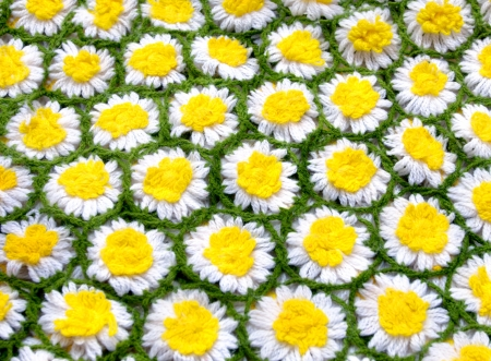 coverlet: Background is filled with crocheted daisies in white and yellow with a green chain connecting it into a coverlet.