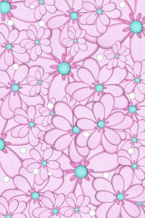 centers: Scrapbooking background of pink daisies with aqua centers.  White polka dots are scattered across image. Stock Photo
