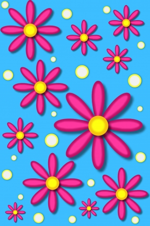 Scrapbooking background has daisies in hot pink and white polka dots.  Background is bright blue.