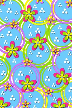 Blue circles, outlines in green, yellow and lilac, are decorated with daisies and dots.