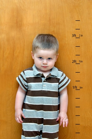 taller: Little boy stands against a wooden door   Besides him is his growth chart   Feet and inches have been marked as he continues to grow taller and taller