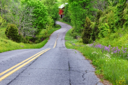 Curving road hugs Appalachian mountain as it curves and winds the country byways of Tennessee.  Red wooden barn can be seen at bottom of hill and wildflowers and spring grass color countryside.
