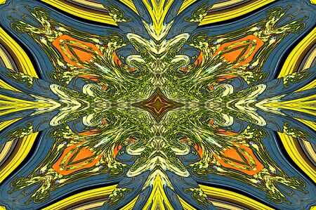 antiqued: Cool shades of blue, yellow, orange and green swirl from center grid out to form triangles of pattern. Stock Photo