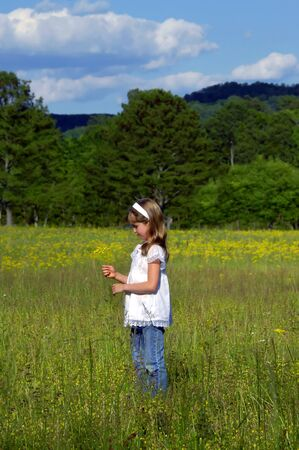 Beautiful little girl explores a field of yellow flowers.  She is holding small bouquet and is lost in thought. She has on jeans and a white shirt. 免版税图像
