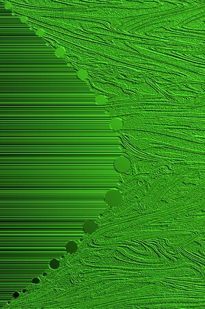 Two textured patterns of swirls and lines meet in the middle of a curving row of round circles   Brilliant Green in color metallic sheet apears in darkness and light  Stock Photo - 15104737
