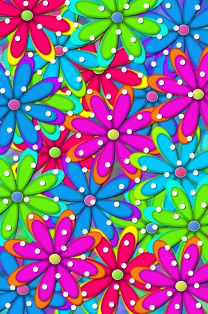 Brilliant daisies in pink, green, red and blue are covered in white polka dots   Flowers are layered in a pattern of 2D petals and dots  Stock Photo - 15104410