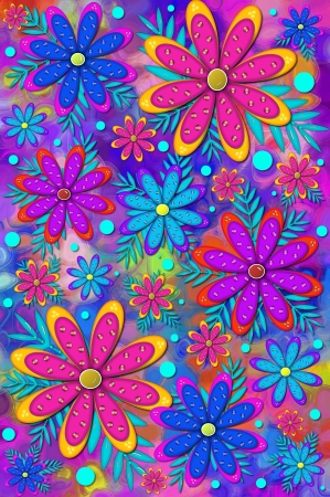 brilliant colors: Mod and fun scrapbooking background has layered flower with 3D shiny beads   Brilliant colors of pink, blue and purple color flowers and background
