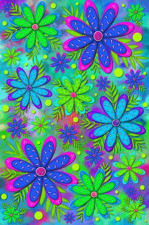 Mod and fun scrapbooking background has layered flower with 3D shiny beads   Brilliant colors of pink, blue and green color flowers and background Stock Photo - 15104525