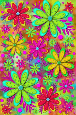 Mod and fun scrapbooking background has layered flower with 3D shiny beads   Brilliant colors of pink, red and green color flowers and background Stock Photo - 15104589