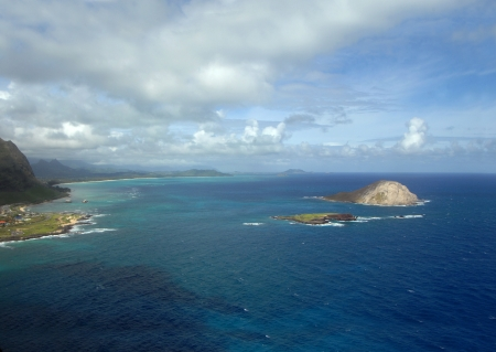 stupendous: Overlook from the Makapuu Lighthouse Trail gives a stupendous view of the windward coast of Oahu, Hawaii.  From this viewpoint you can see Makapuu Beach and Bay, Rabbit Island and Manana Island.
