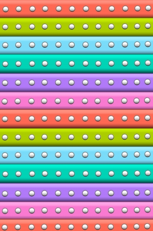 tiers: 3D scrapbooking stripes are multi colored with white polka dots outlines in smudged black.