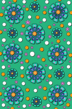 Background is filled with muted green color   Flowers in green, purple and pink are scattered across a polka dotted background   Polka dots are orange and white  photo
