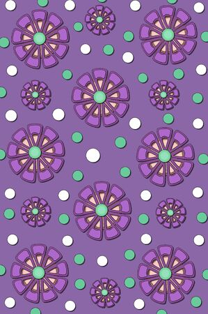 mingle: Background is filled with muted purple   Flower shapes in purple, soft pink and mint green mingle with polka dots in green and white