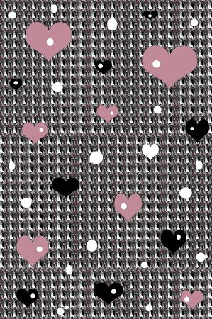 speckled: Background in retro colors of mauve, black and white are floating on a hounds tooth pattern with geometric patterns of hearts and circles.  Background is one of three coordinating patterns.