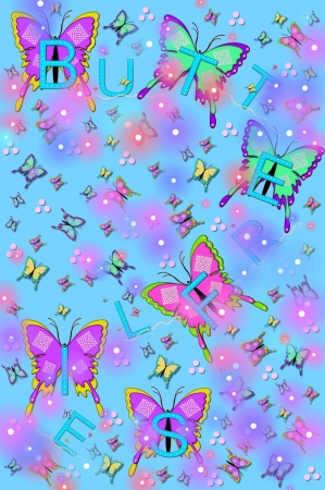 Soft blue background is filled with small and large fluttering butterflies and flashing lightening bugs.  The word