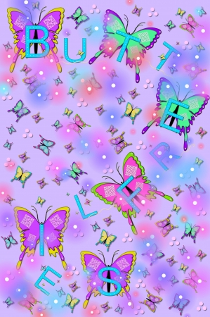 Soft lilac background is filled with small and large fluttering butterflies and flashing lightening bugs.  The word