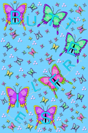 Soft blue background is filled with small and large fluttering butterflies.  The word 'Butterflies' is spelled across the image with aqua letters, pearls and bling. photo