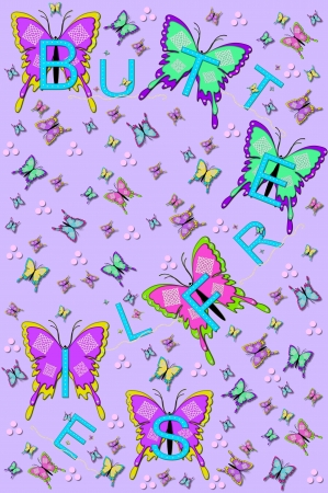 lavendar: Soft lavendar background is filled with small and large fluttering butterflies.  The word Butterflies is spelled across the image with aqua letters, pearls and bling. Stock Photo