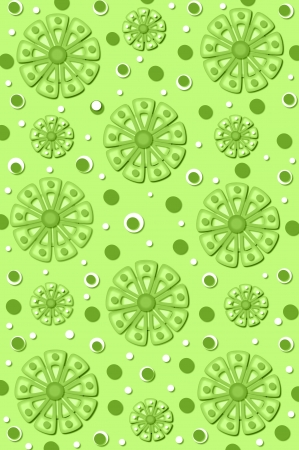 monocrome: Scrapbook background filled with pinwheel style flowers in monocrome green and white.  Polka dots in blue and white are scattered throughout design.