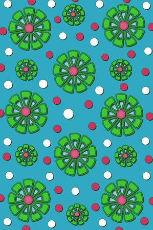 Background is filled with muted blue color.  Flowers in green, blue and red mix with confetti in red and white