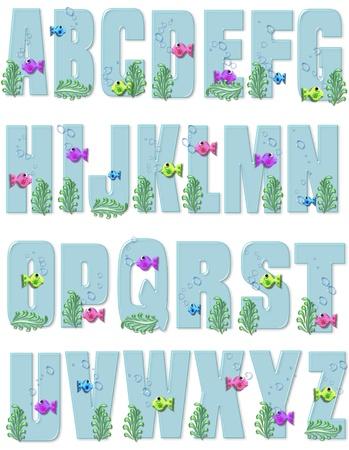 """A tot Z, in het alfabet te stellen """"Sea Bubbles,"""" heeft zeewier, kleine vissen en bellen om hen heen. Letters zijn een licht blauw."""