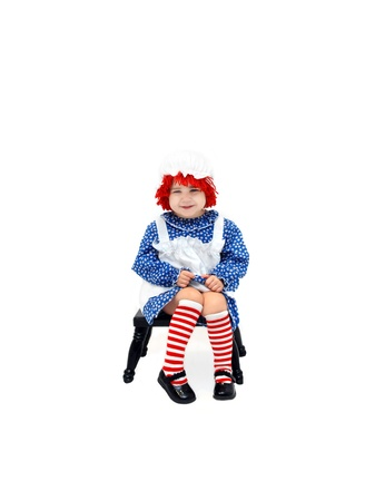 raggedy: Sweet little girl is dressed as a rag doll