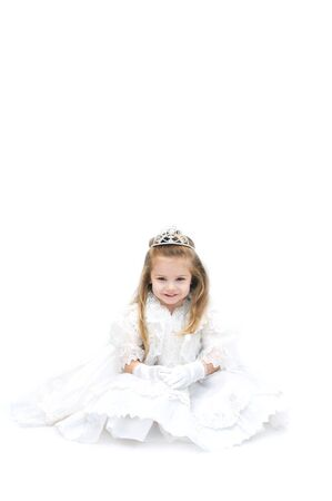 wishful: Wishful little girl is dressed up as a bride with sparkling crown tiara