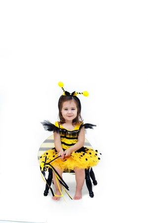 Little bumble bee sits on a black stool in an all white room.   photo