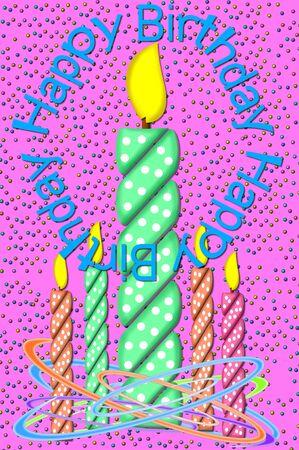 polka dotted: Mensaje c�rculos Cumplea�os imagen de polka punteado vela, en llamas. La imagen muestra una vela grande y un grupo de peque�as velas rodeadas de serpentinas de colores. Colored confeti cae a trav�s de velas. Foto de archivo