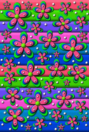 Multi-colored strips in 3D line graphic.  Layered flowers in coordinating colors form second layer.  White polka dots add fill.