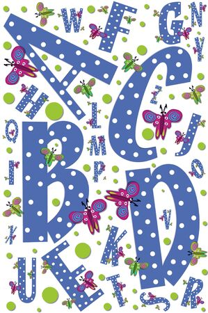 Poster design shows letters A to Z decorated with butterflies and polka dots.  Letters are maroon with white dots. Stock Photo - 15105955