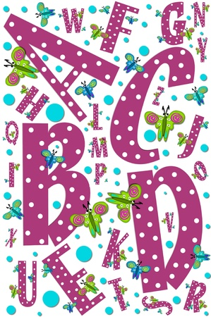 Poster design shows letters A to Z decorated with butterflies and polka dots.  Letters are maroon with white dots. Stock Photo - 15105963