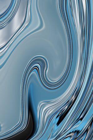 bulging: Shades of blue form lines of liquid blue water bulging and flowing within lines of black and white.