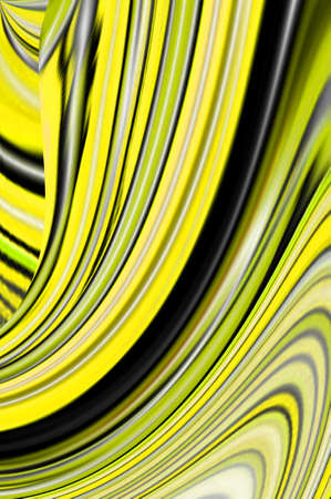 bend: Yellow swirls bend and twirl in different directions in glowing lines of yellow black and green