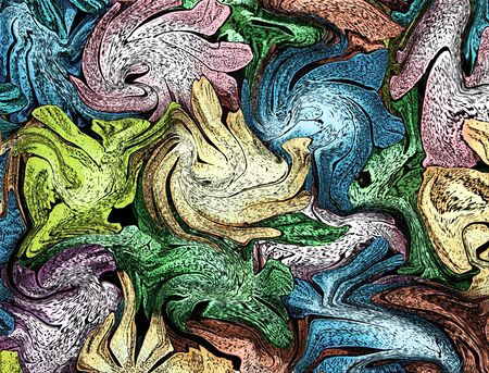 Abstract illustration of aquarium sea stars in cluster against the glass   Colors include pink, blue, green, orange and turquoise  illustration
