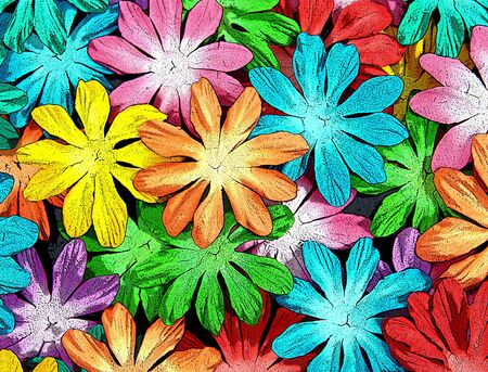 antiqued: Blanket of flowers in every color under the rainbow lay forming a carpet of color   Flowres are antiqued and cracked  Stock Photo