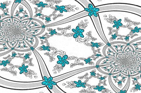 Image has circles, flowers and scroll work.  Teal flowers go from small to big on white patterned background. photo