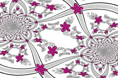 Image has circles, flowers and scroll work.  Hot pink flowers go from small to big on white patterned background. photo
