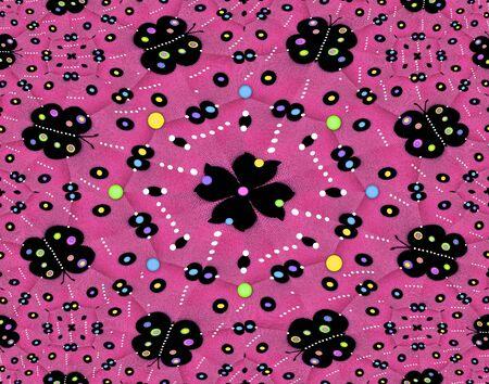 polka dotted: Dise�o caliente tela rosa tiene gran flor negro decorado con puntos de colores. Negro polka mariposas punteado imagen c�rculo. M�s polka decorar la imagen. Foto de archivo