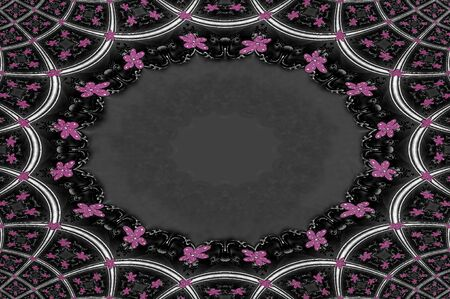Pale pink and grey pattern forms squares and arches on this bankground image of fancy frames